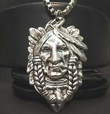 "NATIVE CHIEF_Large Pendant + 24.5"" Stainless Steel Box Chain Necklace_Aboriginal"