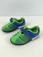 CHILD'S CLARKS BLUE GREEN STRAP FASTEN LIGHT UP TRAINERS FIRST SHOES UK 7F EU 24