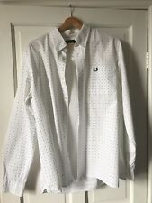 Fred Perry Mangas Largas Camisa Azul Blanco Lunares Uk Size XL