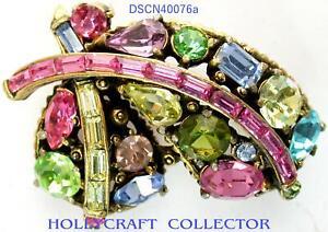 40076a - HOLLYCRAFT 1955 Pastel Rhinestones Small Brooch/Pin