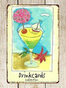 summer cocktail drink etal tin sign outdoor home kitchen art