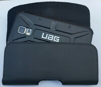 FOR SAMSUNG GALAXY S3/S4/S5 BELT CLIP LEATHER HOLSTER FITS A UAG HYBRID CASE ON