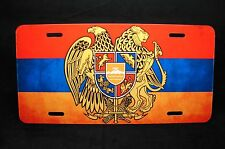 ARMENIA FLAG WITH COAT OF ARMS METAL NOVELTY LICENSE PLATE TAG FOR CARS