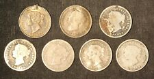 Lot of 7 Pre-1900 Canada 5c Silver Five Cent Nickels - Free Shipping USA