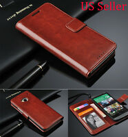 Genuine Luxury Real Leather Flip Wallet Case Cover For HTC One M9 USA