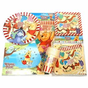 Winnie the Pooh Party Pack for 8 People - Plates Cups Napkins Banners & Balloons