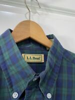 Vintage 80s LL Bean Cotton Blue Green Plaid Mens Long Sleeve Shirt Size Medium