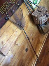 Antique Folding Trout fishing net Split Cane/Green Heart? Brass fittings Hardy?