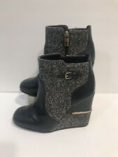 TORY BURCH womens Blue leather wool tweed wedge bootie boots Size 7 M