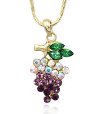 Lavender Purple Grapes Fruit Pendant Necklace June Birthday Jewelry Gift