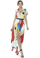 ~NWT ALICE & OLIVIA ARLEN COLORBLOCK SILK MAXI SHIRT DRESS (SO SOLD OUT!)  ~ 8