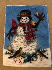 Frosty The Snowman Latch Hook Rug Wall Hanging