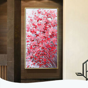 """YA162 Home Decor 100% Hand-painted oil painting on canvas Red Flower 24""""x48"""""""