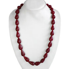 BEST MAGNIFICIENT DESIGN 541.00 CTS NATURAL PEAR CUT RED RUBY BEADS NECKLACE