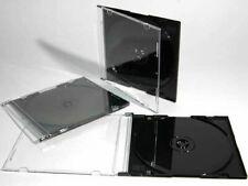 5.2mm Slim CD Jewel Case Single Black/Clear Tray Wholesale Lot