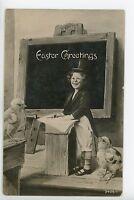 Cute Top-Hat Boy Easter Chicks Antique Postcard ca. 1912
