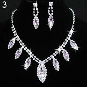 Parure bijoux Strass Mauve collier boucle d'oreille mariage cérémonie soirée