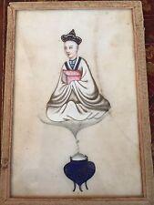 DESSIN CHINE MOINE MEDITATION BOUDDISME XIX COLLECTION A.P LEROUX FECAMP PAPIER
