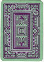 Playing Cards 1 Swap Card Old Antique English Wide GEOMETRIC Red on Green LEAVES