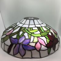 "DALE TIFFANY Stained-Glass Flowers Lampshade Shade 14"" Purple Red Green White"