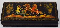 Russian Lacquer Box Hand-painted Three Horses Piper Musician Signed