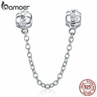 Bamoer S925 Sterling Silver Safety Chain charm Heart With CZ Fit Women Bracelet