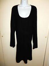 KAROO MARK EISEN 100%CASHMERE BLACK U-NECK DOLMAN SLEEVES DRESS TUNIC SWEATER M
