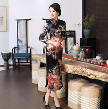 New Long Slim Chinese Women Dress Cheongsam Qipao Long  Sleeve  Plus Size