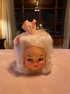 VINTAGE RETRO White Hair Pink Jewelry KITSCH DOLL FACE HEAD HAIR TISSUE COVER