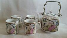 Homco Hexagonal 6 Piece Matching Porcelain Teapot And 4 Cups tea set