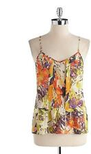 Jessica Simpson sz XS Bahati Jungle Print Pintucked Tank Top Summer Blouse