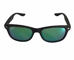 Ray Ban Jr Sunglasses RJ 9052S 100S/3R Black Frame Green Mirrored Lens 47-15-125
