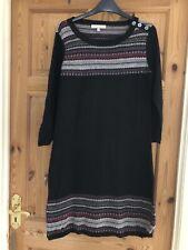 LAURA ASHLEY Ladies Pretty Black Fine Knit Patterned Jumper Dress Size 14