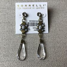 """NEW Auth Sorrelli Pearl Luster Gold Finish 2.75"""" Long Crystal Tear Earrings $90"""