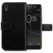 Sony Xperia XA1 Plus Case Real Genuine Leather Folio Flip Wallet Phone Cover