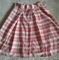 CUE DUSTY PINK AND WHITE LIGHTWEIGHT SUMMER STRIPED PLEATED SKIRT SIZE 6. BNWOT