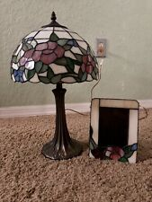 "Tiffany Style Lamp with Flower And Photo Frame Set Lamp Shade 20"" Tall"