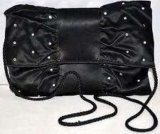 La Regale Ltd Handmade Black Satin w/ Rhinestones Ruffled Clutch Cross Body Bag