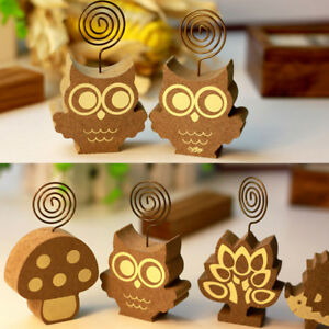 Animal Tree Hedgehog Stand Wood Metal Wires Paper Note Message Clips Clip Shan