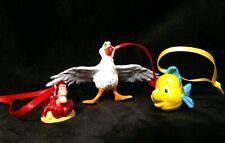 Disney the Little Mermaid Christmas Ornament set Flounder Scuttle Sebastian