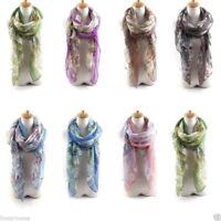 écharpe foulard gaze Imprimé floral FLEUR MOUSSELINE DE SOIE VOILE CHÂLE ECHARPE