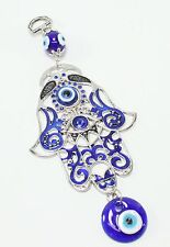 "Turkish Blue Evil Eye 3"" Hamsa Hand Amulet Wall Hanging Protection Decor"