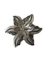 Vintage 1940s Silver Filigree Wire Work Flower Floral Brooch Jewellery