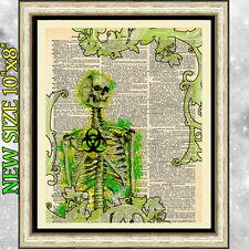 Impresión de arte antiguo Libro página Diccionario gótico Biohazard tóxicos Esqueleto Cartel.