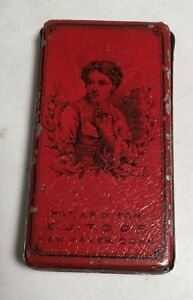 antique Red Sewing NEEDLE Tin E J Toof New Haven Conn Somers Bros