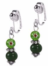 Clip On Green Jade Fashion Dangle Silver Earrings with Millefiori Stone