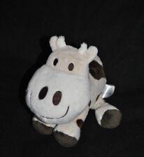 Peluche doudou vache H&M H M blanc beige brun yeux brodés 21 cm Etat NEUF