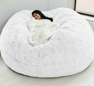 Soft Comfortable Giant Fur Bean Bag Cover Living Room Decoration Rest Furniture