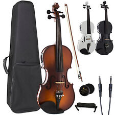Cecilio Acoustic Electric Ebony Fitted Violin ~Antique Varnish Black White CVNAE