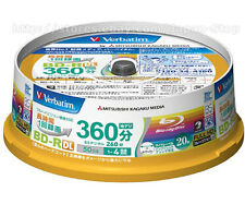 20 Verbatim Bluray Discs BD-R DL  50GB Dual Layer 4x Speed Original Spindle